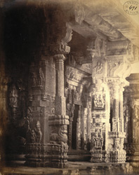 Carved pillars within the Venkataramana Temple, Tadpatri